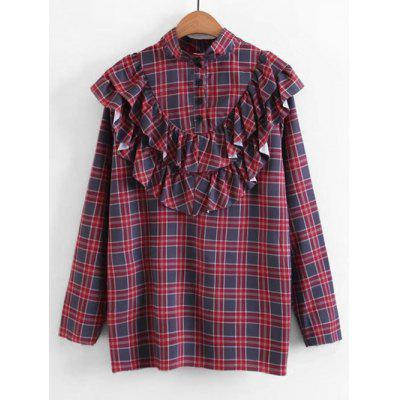 Ruffles Plaid Buttoned Blouse