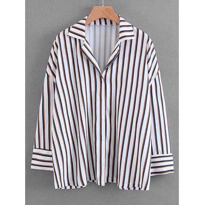 Striped Button Up Loose Shirt
