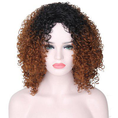 Medium Side Bang Shaggy Ombre Afro Kinky Curly Synthetic Wig