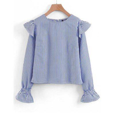 Striped Ruffles Long Sleeve Blouse