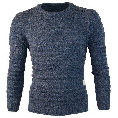 Patched Crewneck Pullover Sweater