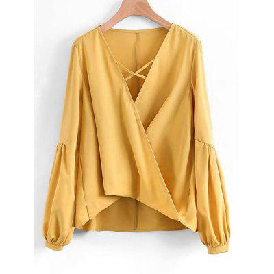 Crossed Front High Low Blouse