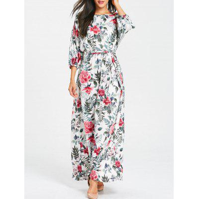 Floral Print Belted Batwing Sleeve Maxi Dress