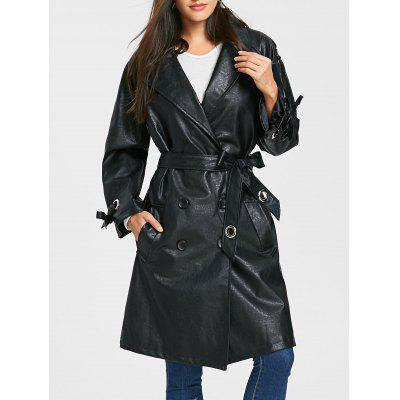 Double Breasted PU Leather Belted Coat