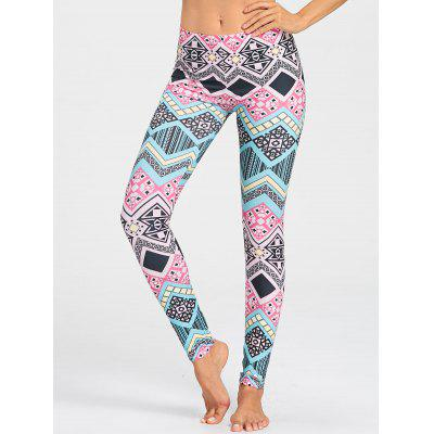 Colored Geometric Pattern Sports Leggings