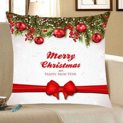 Christmas Balls Bowknot Belt Pattern Throw Pillow Case