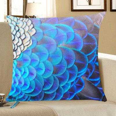 Peacock Feathers Printed Throw Pillow Case