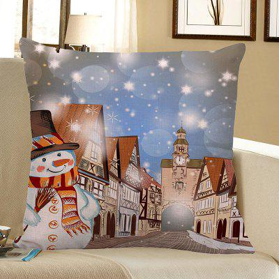 Christmas Snowman Town Patterned Pillow Case