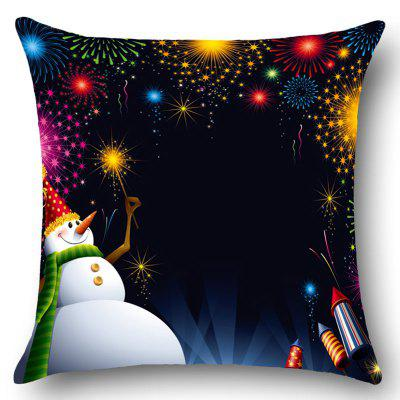 Snowman Fireworks Printed Throw Pillow Case