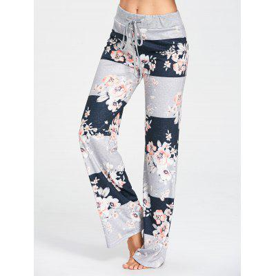 Drawstring Waist Flower Pattern Pajama Pants