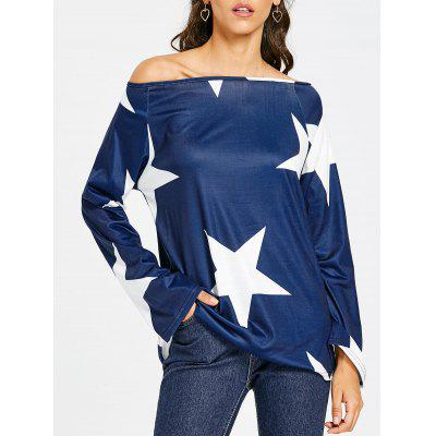 Convertible Neck Star Print Raglan Sleeve T-shirt
