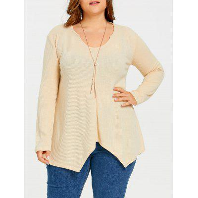 Plus Size Ribbed Asymmetric Long Sweater