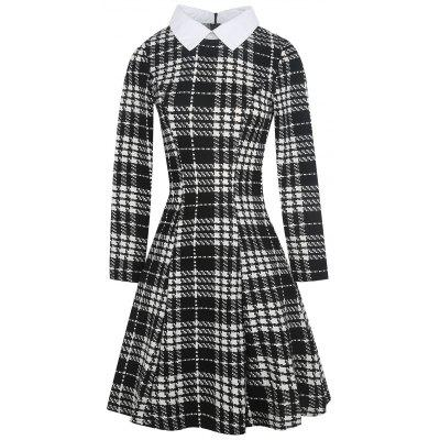 Vintage Plaid Knee Length Dress