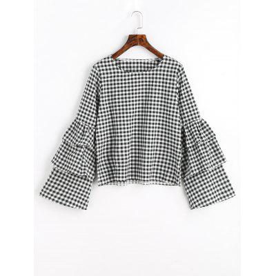 Layered Flare Sleeve Checked Blouse