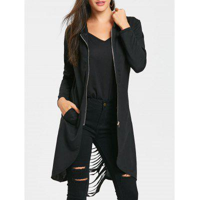 Ripped Tunic Zip Up Hoodie