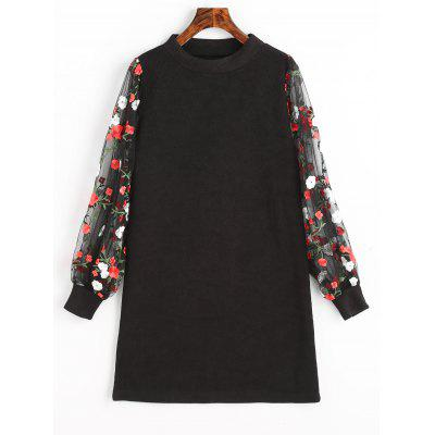 Buy BLACK XL Mesh Panel Floral Mini Knit Dress for $24.99 in GearBest store