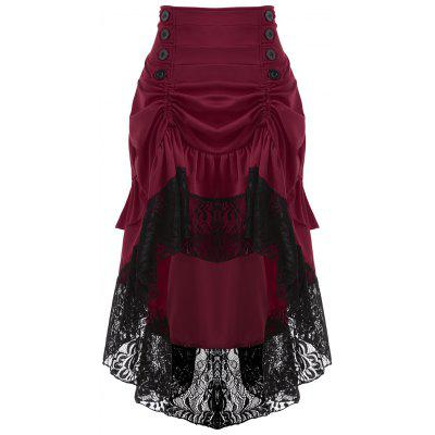 High Waisted Lace Insert Midi Party Skirt