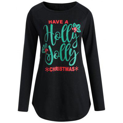 Plus Size Christmas Letter Long Sleeve Tee