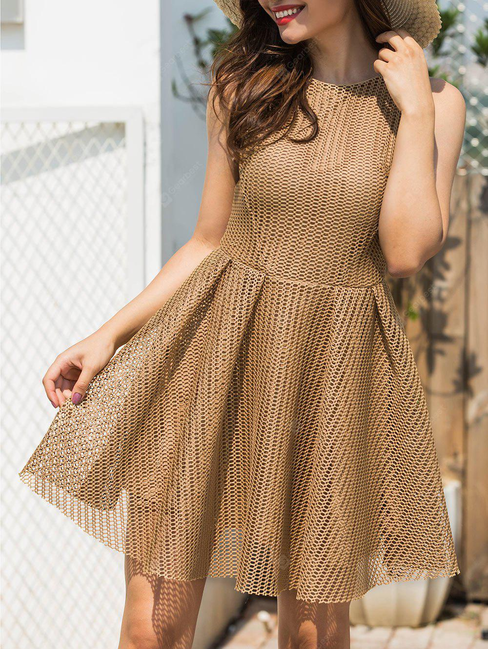 A-line Sleeveless Mesh Mini Dress