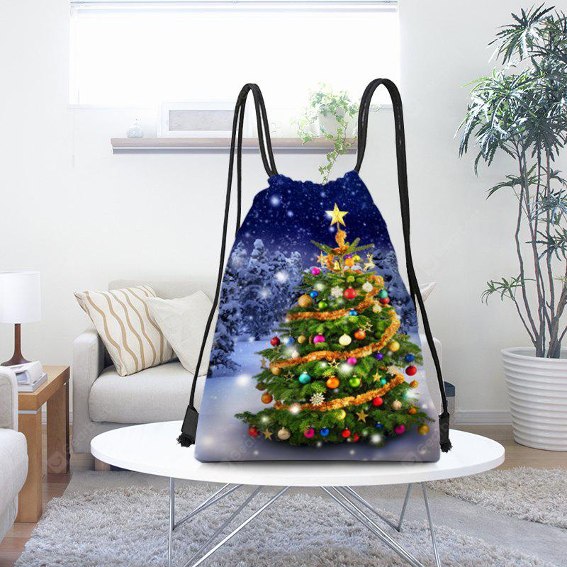 Snowy Christmas Tree Pattern Candy Drawstring Storage Bag