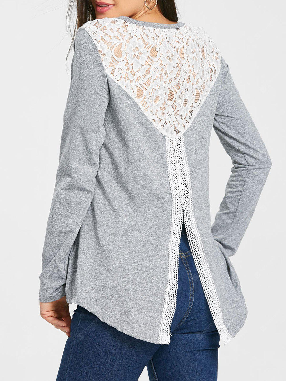 Slit Back Hollow Out Blouse
