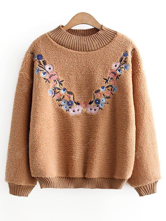 Floral Embroidered Textured Sweatshirt