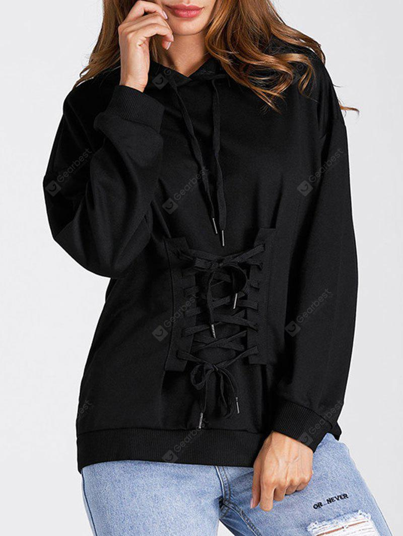 Drop Shoulder Lace Up Tunic Hoodie