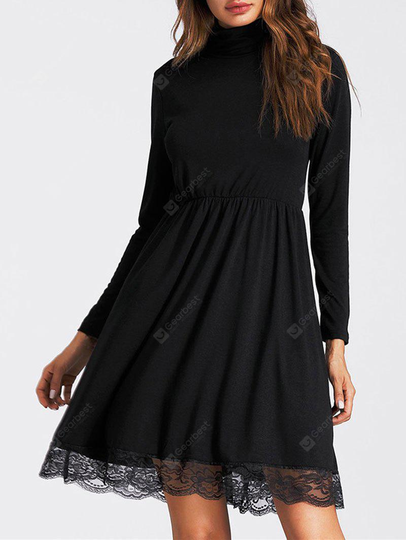 High Neck Lace Insert Mini A Line Dress