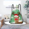 Cute Christmas Elk Print Drawstring Backpack - COLORIDO