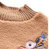 Floral Embroidered Textured Sweatshirt - LIGHT BROWN