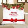 Christmas Balls Bowknot Belt Pattern Throw Pillow Case - RED AND WHITE
