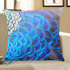 Peacock Feathers Printed Throw Pillow Case - BLUE
