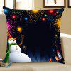 Snowman Fireworks Printed Throw Pillow Case - BLACK