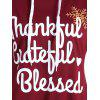 Thanksgiving Drop Shoulder Letter Print Hoodie - WINE RED