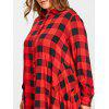 Plus Size Long High Low Tartan Shirt - RED