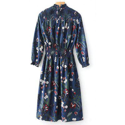 Buy FLORAL M Smocked Panel Floral Long Sleeve Midi Dress for $28.58 in GearBest store