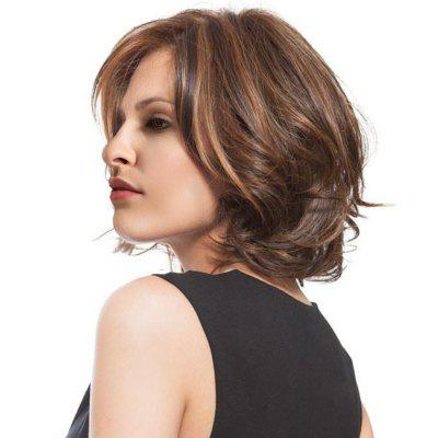 Medium Side Bang Colormix Slightly Curly Synthetic Wig