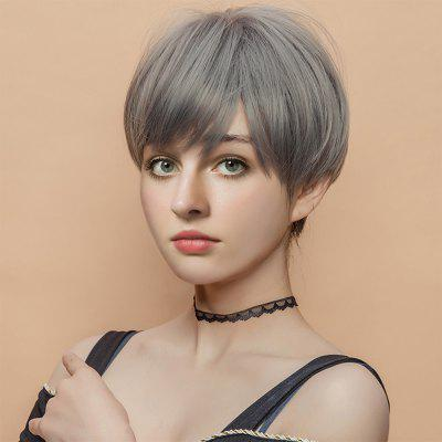 Short Inclined Fringe Straight Capless Synthetic Wig