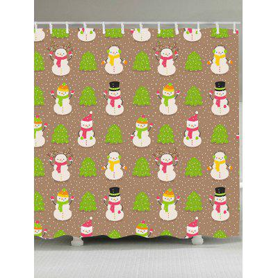 Christmas Trees And Snowmen Pattern Shower Curtain