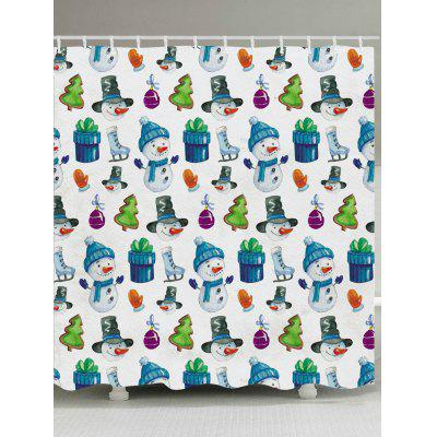 Christmas Decorations Snowmen Pattern Shower Curtain