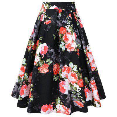 Floral Print Pleated A-line Vintage Skirt