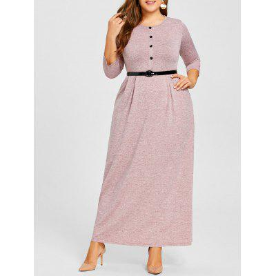 Plus Size Button Embellished Belted Dress