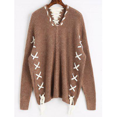 Dark khaki Contrasting Lace Up Oversized Sweater ONE SIZE-$32.94 ...