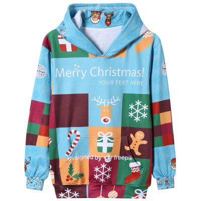 Color Block Christmas Cartoon Print Pullover Hoodie snowman print pullover christmas hoodie