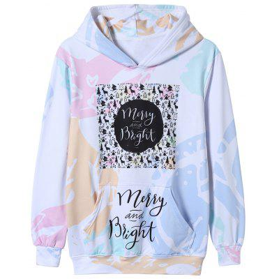 Colorful Christmas Graphic Print Pullover Hoodie