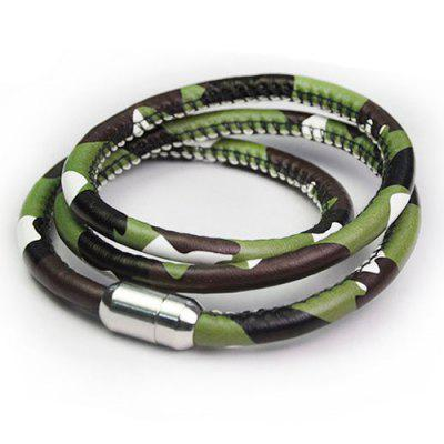Faux Leather Rope Camouflage Bracelet
