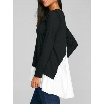 Button Panel Embellished High Low T-shirt