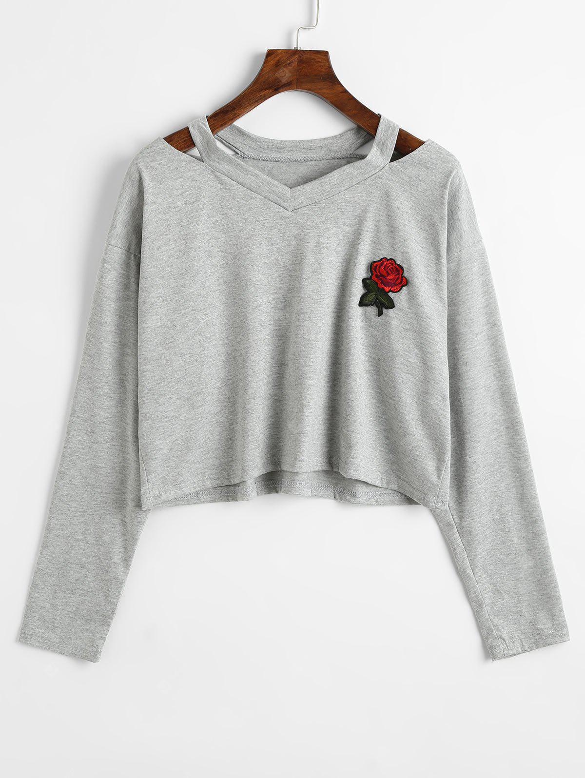 Rose Embroidered Patches Cold Shoulder Sweatshirt