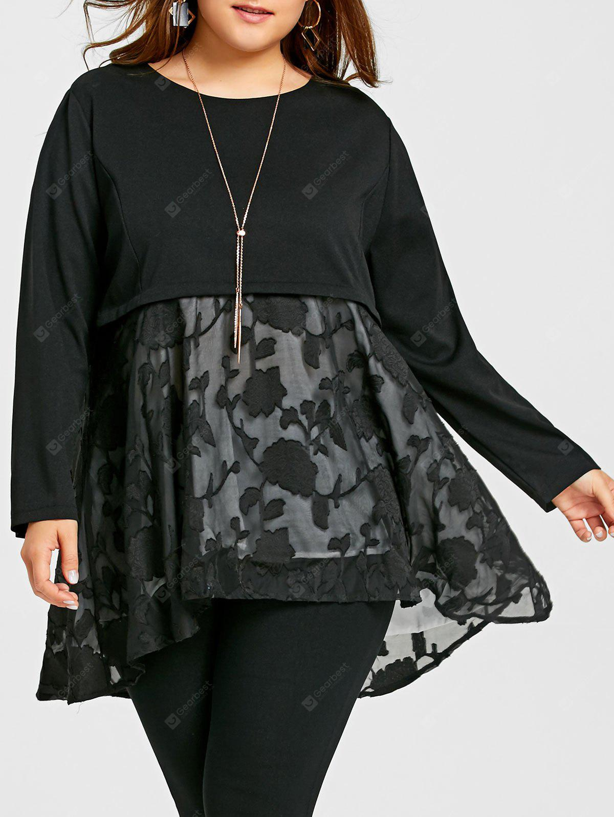 Plus Size Floral Voile Panel Smock Top