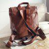 Double Buckle Strap PU Leather Backpack - BROWN
